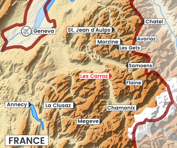 Les Carroz map