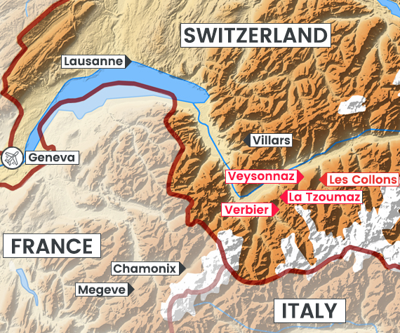 Les 4 Vallees map